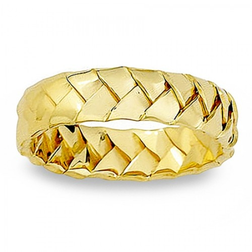 Mens 6mm Handwoven Intricate 14K Yellow Or White Gold
