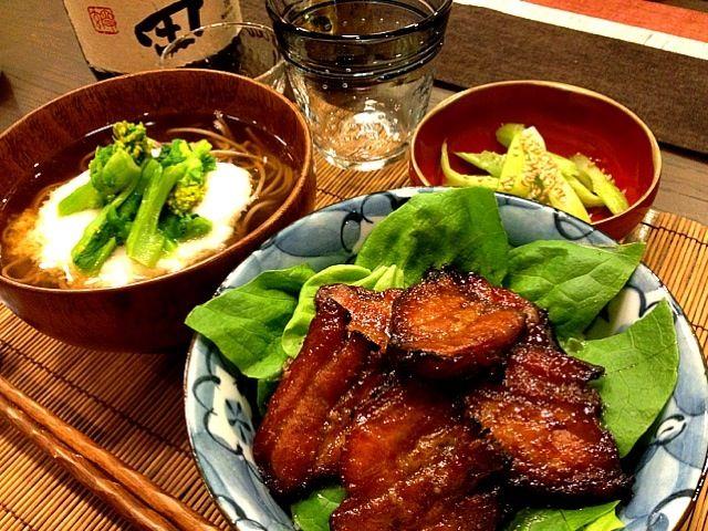 美味しかった〜また、作ります✨ お蕎麦はどうしても食べたくなってお汁代わりに十割蕎麦です❤ - 262件のもぐもぐ - みどりさんの焼き豚で丼!と山かけ蕎麦、セロリの浅漬け by masako522