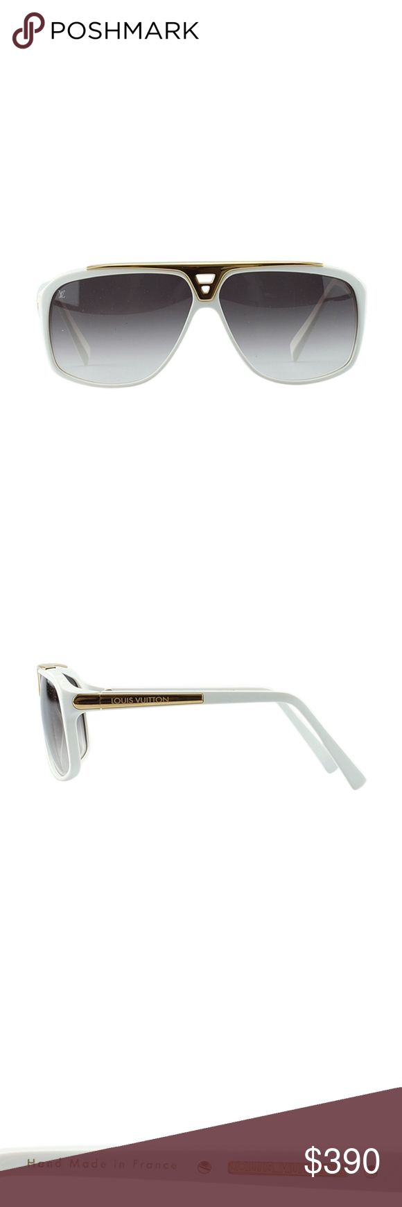 Louis Vuitton Z0351W Evidence Sunglasses 135640 •Designer: Louis Vuitton •Exterior Condition: Like New •Material: Metal & Plastic •Production Code: Z0351W •Frame Color: White •Overall Width of Frame: 4 •Lens Width: 3 •Frame Height: 2.5 •Bridge Width: .5 •Length to Bend: 3 •Overall Length to Side: 4 •Overall Condition Description: These Louis Vuitton Evidence sunglasses feature: -Exterior frames and frame arms show light scratches -Lenses show hairline scratches -Gold tone hardware shows…