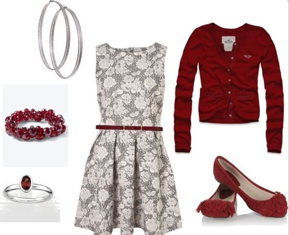 Very christmas y outfit a line dress red cardigan matching shoes