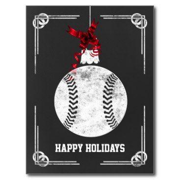 Chalkboard Baseball Player Christmas Cards Baseball