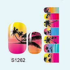 14stk Nagel Kunst Sticker Wraps Full-Cover Sommer Strand Muster Maniküre Neu