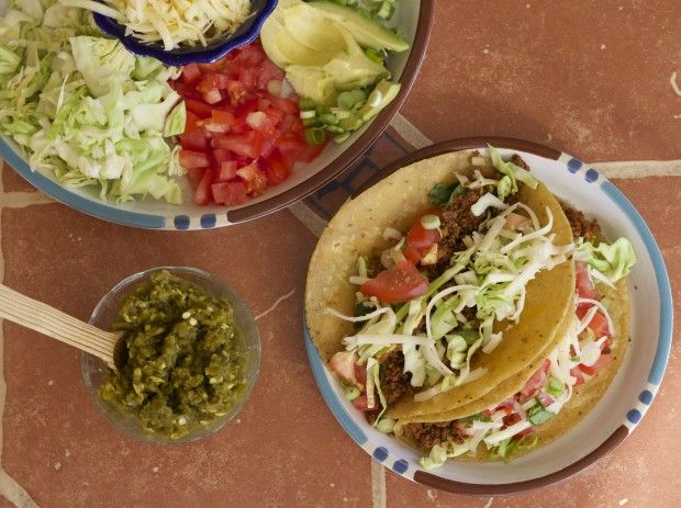 """Traditional Tacos with Homemade Tofu """"Hamburger"""" (Hold the cheese or use your favorite cheese alternative for dairy-free)"""