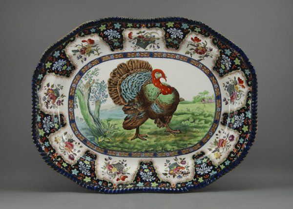 35 Flow Blue 23  Staffordshire Spode Turkey Platter on & 255 best turkey platters u0026 plates images on Pinterest | Turkey ...