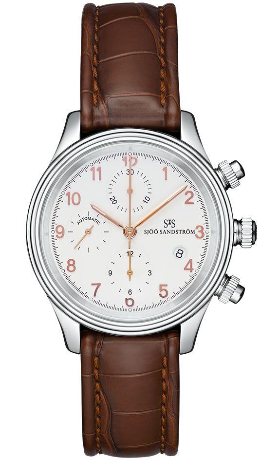 Royal Steel Chronograph 42 mm, ivory rose gold dial with brown alligator. #sjöösandström #sjoosandstrom #watch #watches #sweden #chronograph #classic