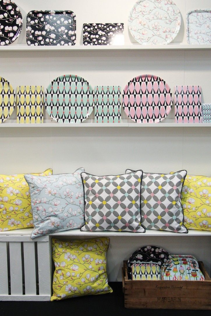 Amazing trays and cushions by Lisa Edoff Design! #nordicdesigncollective #nordic #design #formex #formex2014 #stockholm #stockholmsmassan #fair #designfair #lisaedoffdesign #lisaedoff #magnolia #circus #pastel #tray #cushion #pillow #cushioncase #pillowcase #triangle #flower #pastel #black #pink #green #yellow #interiordesign #homedecor #lisafain