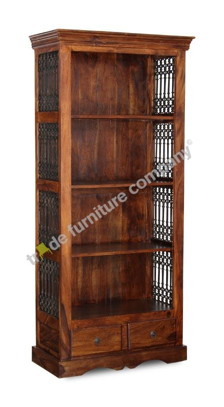 Wooden Bookcase made from Solid Jali Sheesham Wood. Ditto. Close, not sure if cigar present.