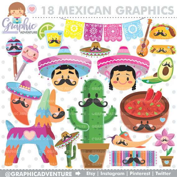 Mexican Clipart, Mexican Graphics, COMMERCIAL USE, Kawaii Clipart, Mexican Party, Planner Accessories, 5 de Mayo, Festive 5 de Mayo, DIY