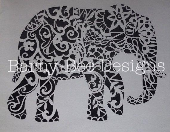 Plantilla de Papercut elefante cortar tu por BarnyBeeDesigns…