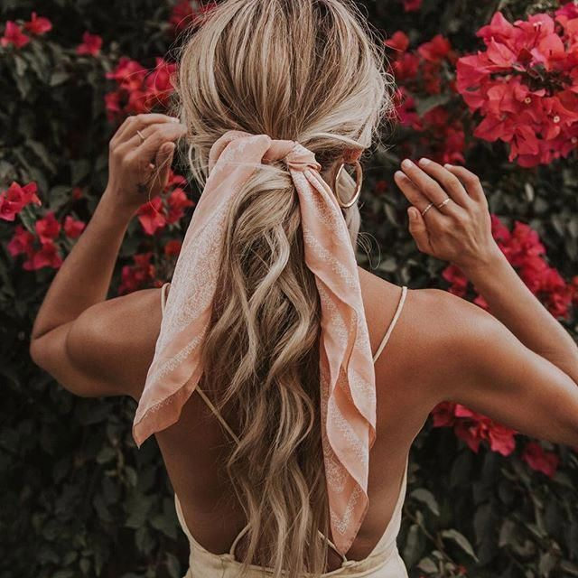 Summer Dress And Hair Scarf Styling Style Hairideas Blondecurlyhair Hair Scarf Styles Scarf Hairstyles Curly Hair Styles