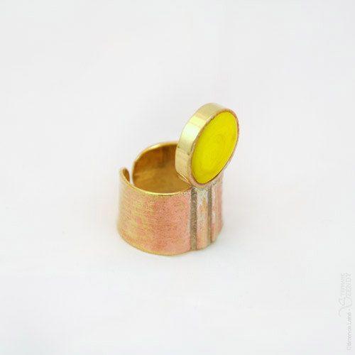 Troisième oeil Bague ronde jaune bronze réglable