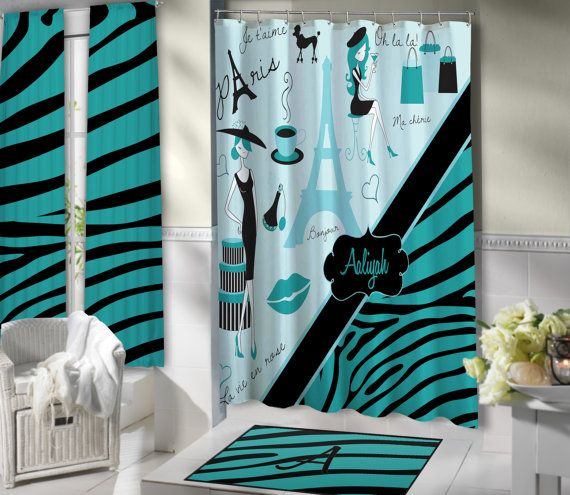 Stylish Paris Shower Curtain Aqua Blue Bathroom Theme Eiffel Tower Fabric Shower Curtain