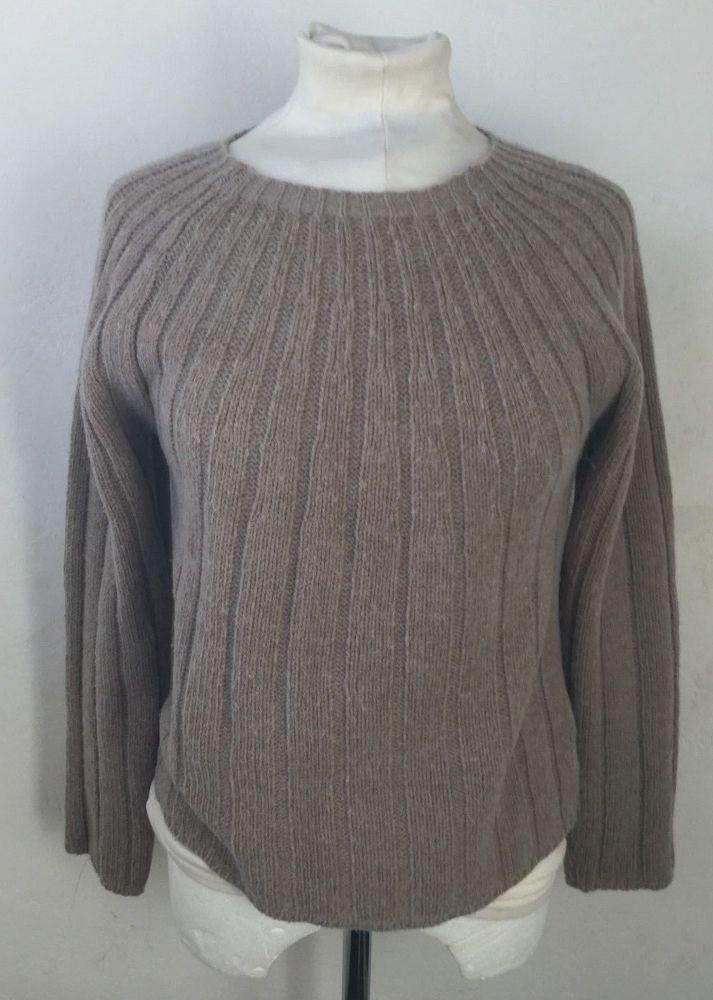 Territory Ahead Merino Wool Sweater Womens S Beige Tan Ribbed Made in Italy #TerritoryAhead #Crewneck #Casual