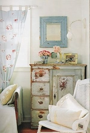 I love the soft turquise shade, mixed with peachy pinks. shabby chic by natmike