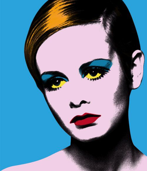 Pop Art...Twiggy by Andy Warhol. I chose this piece since twiggy was a big figure of the 60s and had a large influence on fashion so images of idols such as twiggy will have helped warholls prominence in the decade. Use of shading here is effective because it gives more dimension whilst still remaining in the style of pop art.