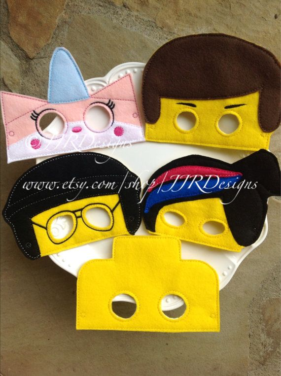 These are high quality made masks.These are dress up/play masks! I have several styles available. These vary in size..about 5-6 wide and 5-6 tall, Emmet is a little larger and Wild Style is a little smaller.  These masks are intended for Children Only. Some masks MIGHT fit adults, but before purchasing for adults, please convo me for dimensions.  Available Styles: #1- Emmet Inspired #2- Wildstyle Inspired #3- Unikitty Inspired #4- Bad Cop Inspired- SOLD OUT #5- Lego Block Inspired #6- MAD…