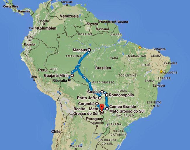 Durch den wilden Westen ins Pantanal (Teil 1) - http://jeannettefredi.blogspot.com/2016/10/durch-den-wilden-westen-ins-pantanal.html -     Manaus – Humaita – Porto Velho – Riberalto (Bolivien) – Porto Velho – Ariquemes – Ji Parana – Pocone – Porto Jofre – Cuiaba – Campo Grande – Corumba – Bonito  Zurück in Manaus der Hauptstadt des Bundesstaates Amazonas am Rio Negro richten wir uns