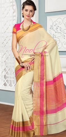 Kerala Cotton Bridal Sari Cream Plain Wedding Traditional BZ5056D77131