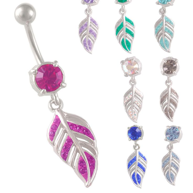 14g 1.6mm Feather BELLY BUTTON RING NAVEL PIERCING dangle crystal Palina Design
