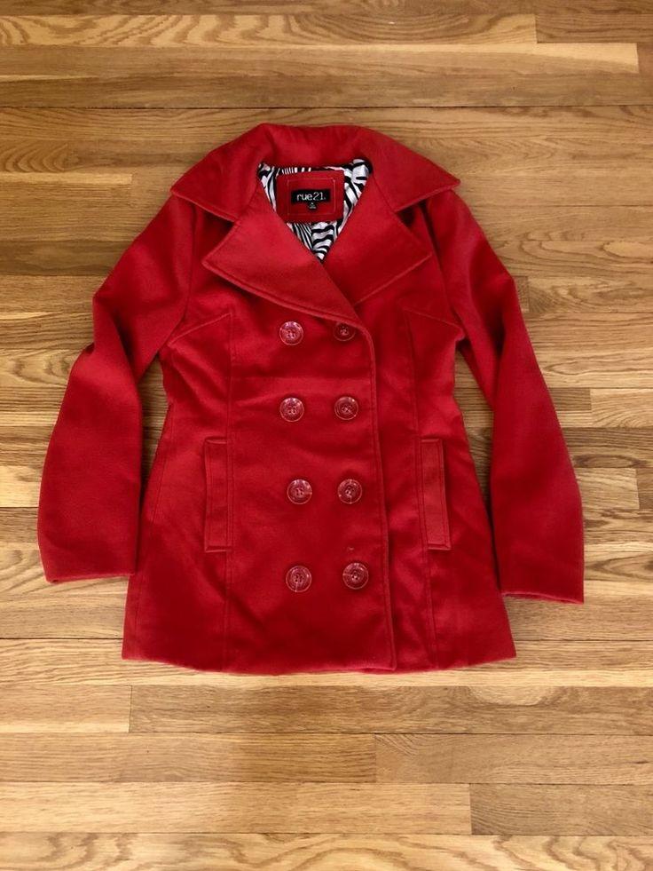 Rue 21 Juniors Red Pea Coat Medium     eBay