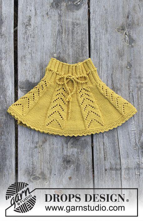 Sunny Hug / DROPS Children 30-20 - Nederdel med hulmønster og hæklekant til børn, strikket ovenfra og ned. Størrelse 2 - 12 år. Arbejdet er strikket i DROPS Merino Extra Fine