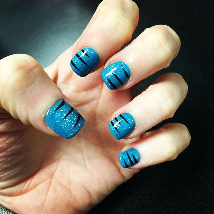 Carolina Panthers Nail Art #keeppounding #carolinapanthers #nailart #superbowl50