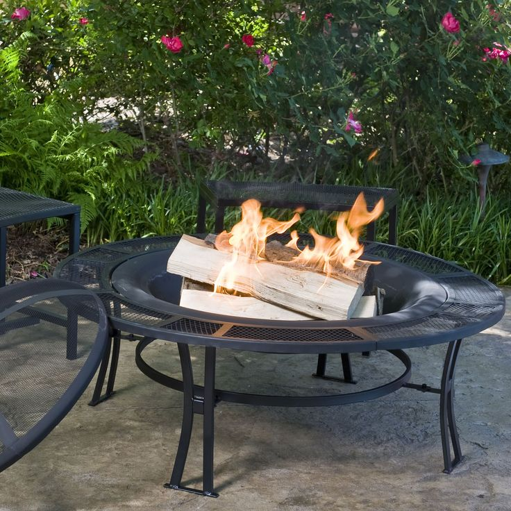 Cobraco Steel Mesh Rimmed Fire Pit And Bench Set With Free Cover