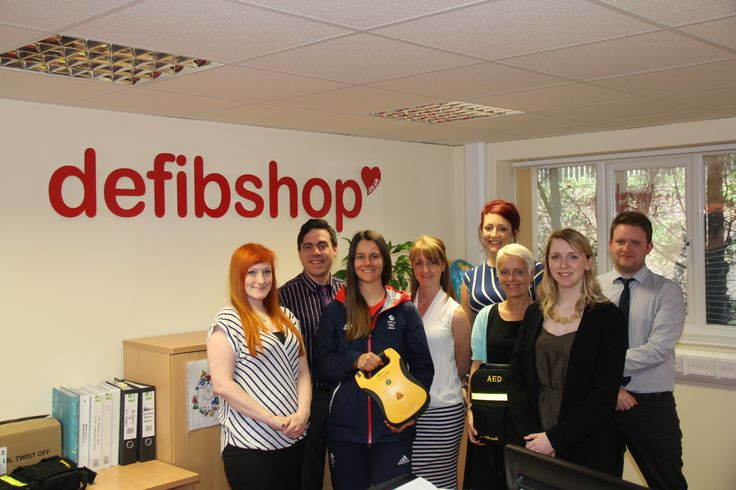 British Olympic Athlete Zoe Gillings-Brier with some of the defibshop team;