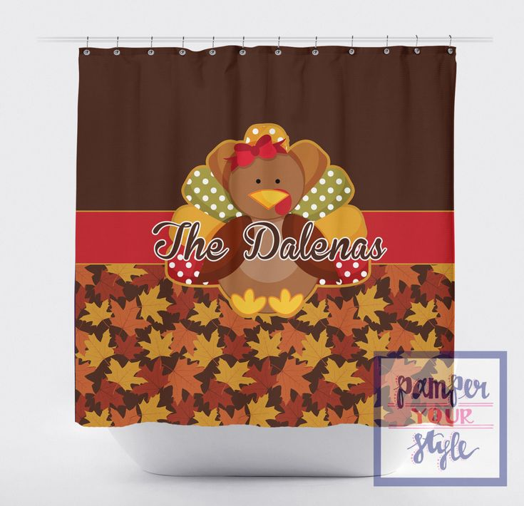 Thanksgiving Shower Curtain - Fall Personalized Shower Curtain - Turkey Shower Curtain - Fall Leaves Decor - Brown Shower Curtain by PAMPERYOURSTYLE on Etsy