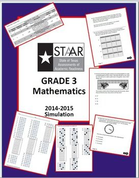 Don't let STAAR come as a shock to your students! Unlike last year's released test, this 3rd Grade STAAR practice test is aligned to the new TEKS. It follows the current blueprint and is created to look and feel like the real thing!CREATED BY A MATH TEACHER IN TEXAS PUBLIC SCHOOLSINCLUDED:~1 simulation test (43 original multiple choice questions and 3 original griddable questions) QUESTIONS ARE HIGHLY RIGOROUS AND DUAL-CODED!~1 student answer document ~Answer document key~Question Data…