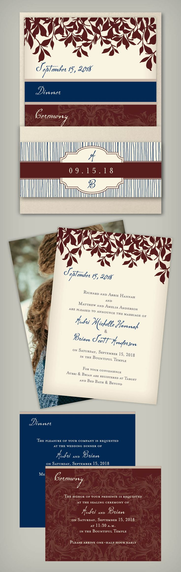 We are loving this foilage pocket invitation