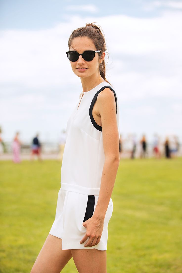 50 Lawn-Ready Looks From The Polo Classic #refinery29  http://www.refinery29.com/veuve-clicquot-polo-classic#slide34  Julia Barrett skillfully takes on the sporty trend.