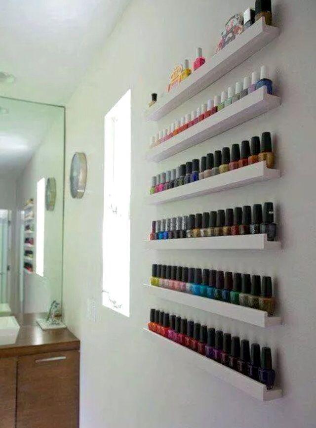Use photo ledges for nail polishes! Genius!!