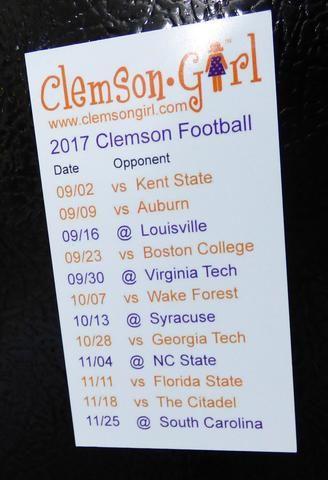 2017 Clemson Football Schedule Magnet
