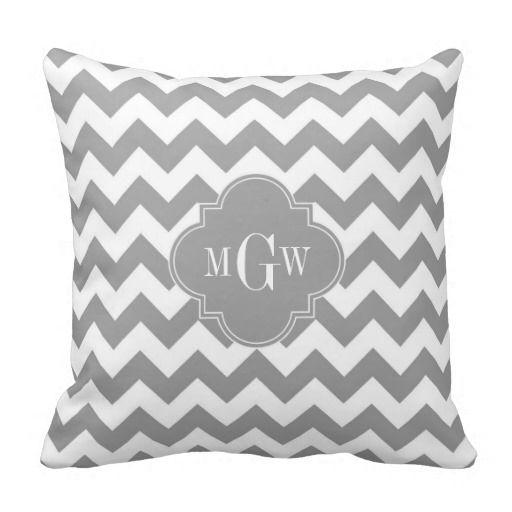 Gray Wht Chevron Dk Gray Quatrefoil 3 Monogram Throw Pillows