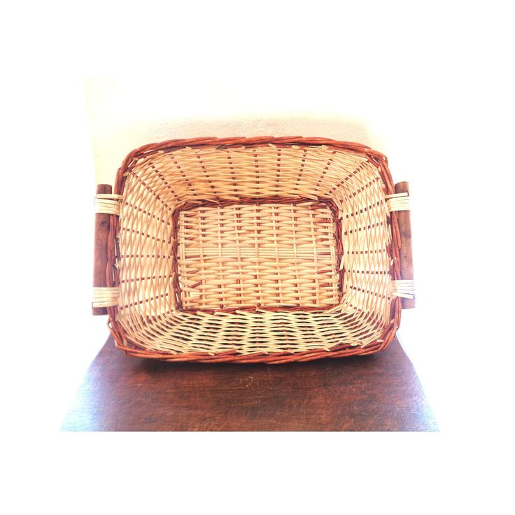Large Vintage basket rustic wicker woven tray wooden handles caddy kitchen bathroom picnic hamper farmhouse country cottage storage Ireland by IrishBarnVintage on Etsy