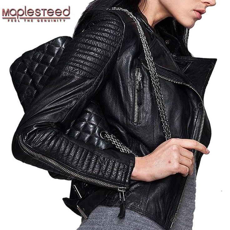 MAPLESTEED Genuine Leather Jacket Women Leather Jacket Sheepskin Black Soft Slim Fit Punk Bomber Female Leather Coat Autumn 049