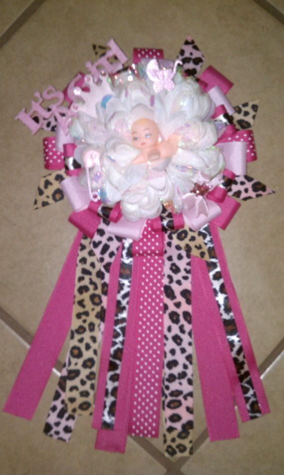 Baby Shower Corsage Pink With Leopard Print By DDimplesBoutique