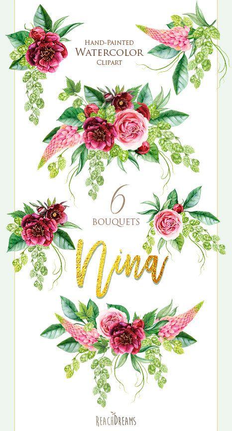 Watercolor Wedding Bouquets Peonies Roses Green от ReachDreams