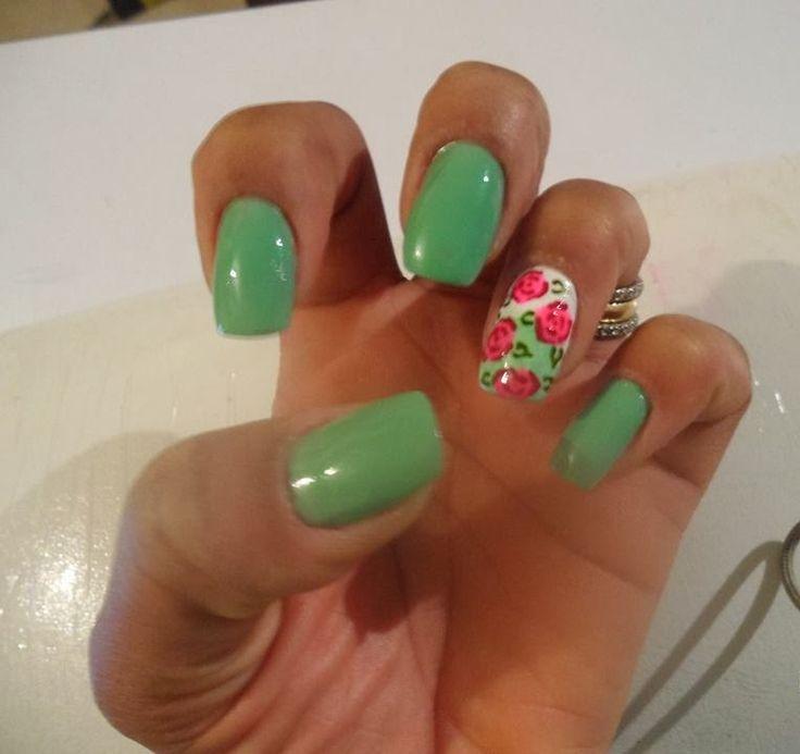 uñas+decoradas+verde+menta.jpg (764×720)