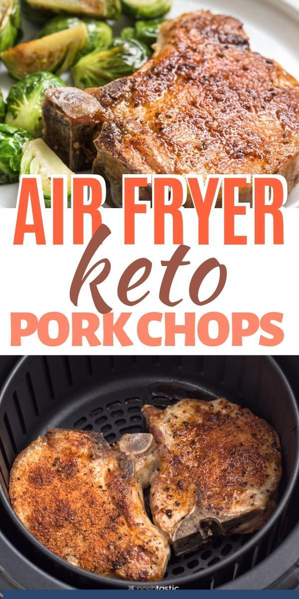 Healthy Simple Air Fried Pork Chops, perfect for keto or low carb www.noshtastic…