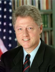 Bill Clinton, a member of the Democratic Party, took office as the 42nd President of the United States on January 20, 1993 at age 46. Clinton served in office for 8 years years and left at the end of his second term. He was born in Hope, Arkansas and received an education from Georgetown University.