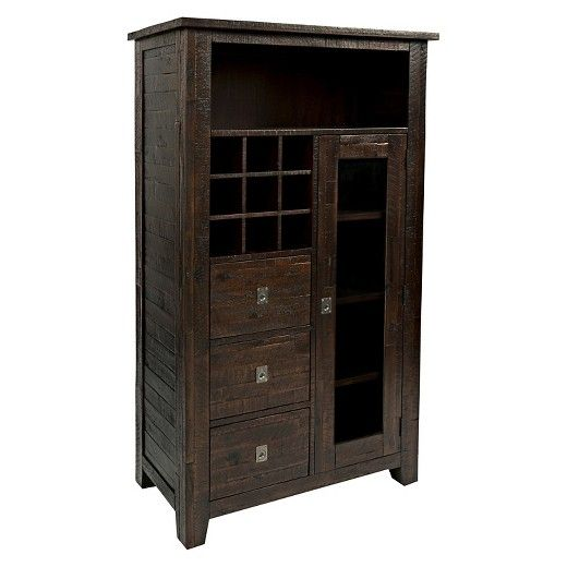 Jofran is proud to present our Kona Grove Collection. Reminiscent of tropical getaways and breezy lanais, the rough hewn, warm finish of this collection offers a unique style element to your living space. The Kona Grove Wine Pantry features removable wine storage for up to nine standard size bottles, open storage, drawers, and a cabinet.  There are five fixed shelves behind the cabinet door.