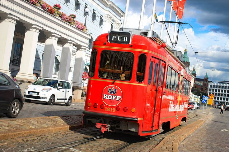 The pub tram departs from Mikonkatu, east of the train station and takes you past Helsinki's major landmarks for an hour.