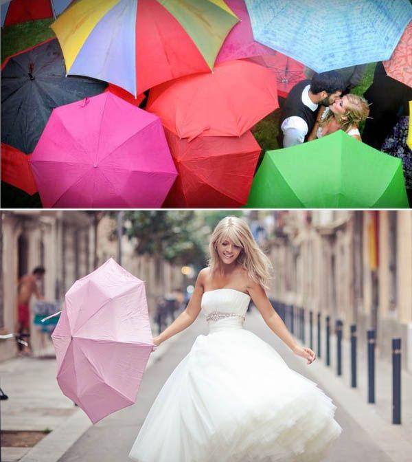 "All colorful umbrellas surrounding bride & groom kissing. Plus, fun, ""dancing"" with umbrella in street pic of bride"