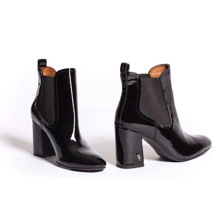 10b17d88887e Raylan Black Patent Block Heeled Ankle Boots By Kurt Geiger London