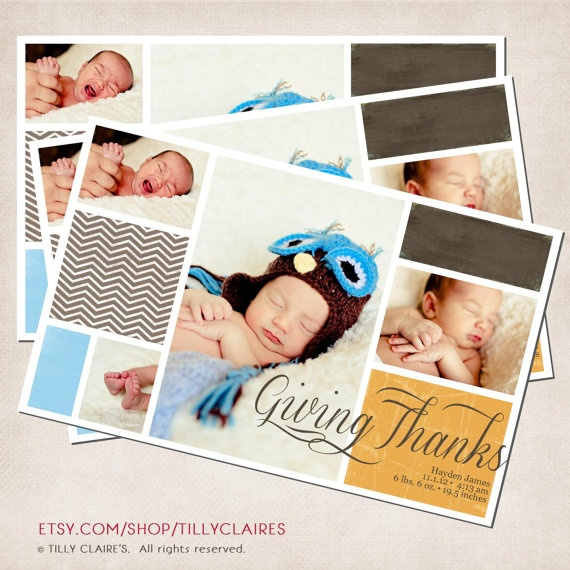 YOU PRINT Custom Thanksgiving Baby Announcement by TillyClaires, $15.00