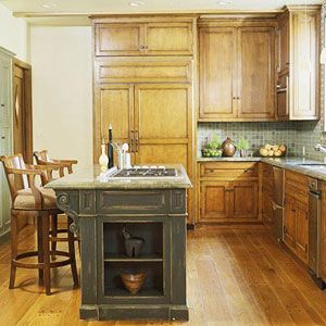 Good L shaped kitchen with island Stove in island
