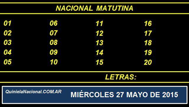 Quiniela Nacional Matutina Miercoles 27 de Mayo de 2015. Fuente: http://quinielanacional.com.ar Pizarra de sorteo desarrollado en el recinto de la Loteria Nacional a las 14:00 horas. La jugada Matutina se efectuó con total normalidad.