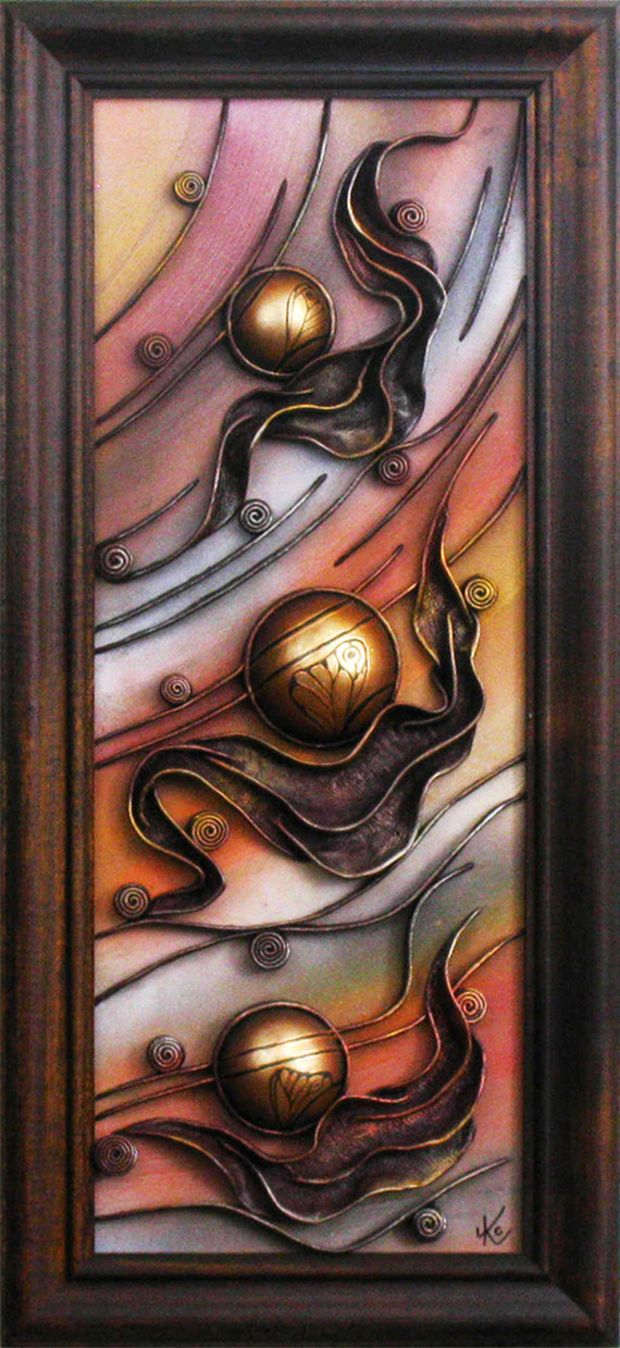 Hand Painted Leather Wall Art Decor Picture Wooden Frame Ceramic Hemispheres Acrylic Paste Relief Background